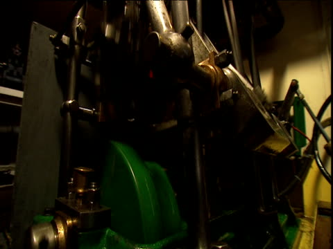 rotating crank shaft and oscillating pistons in engine room of steam boat - piston stock videos & royalty-free footage