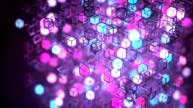 vidéos et rushes de rotating cube made of luminous blinking boxes - frolow