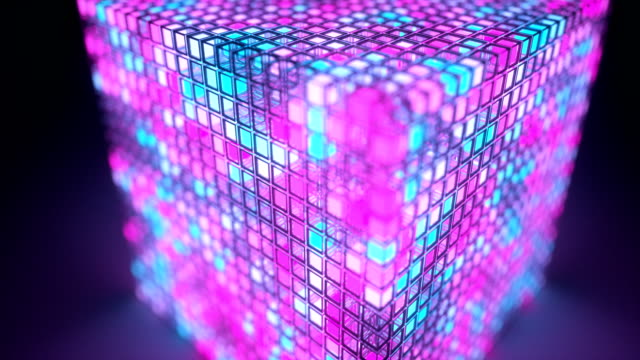 rotating cube made of luminous blinking boxes - quantum computing stock videos and b-roll footage