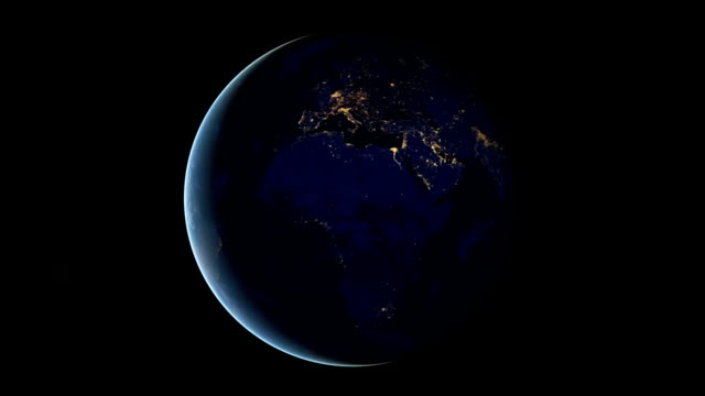 rotating earth at night, 2012 - europa continente video stock e b–roll