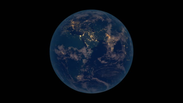 Rotating Earth at night (Europe & Africa view)