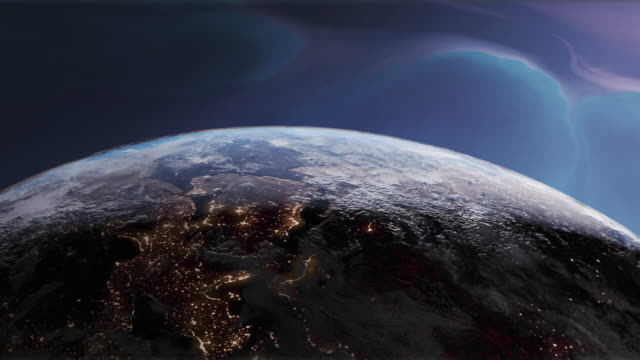 Rotating Earth with Night Lights over Europe and Nebula Background