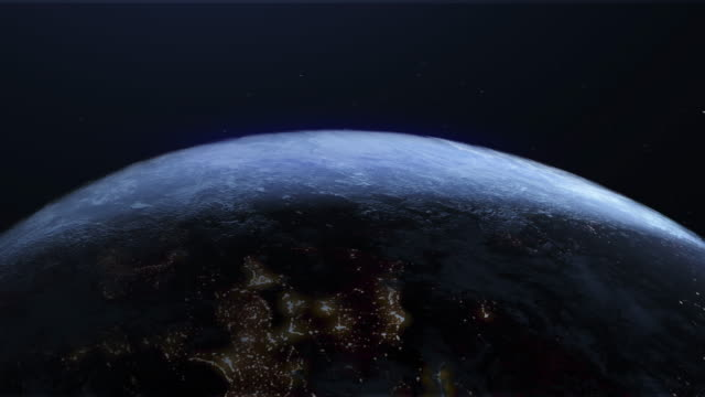 Rotating Earth with Night Lights