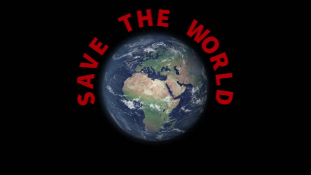 rotating earth with text save the world appearing - rescue stock videos & royalty-free footage