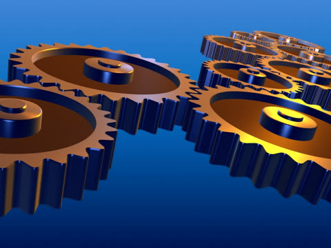 rotating gears - teamwork ntsc - interlocked stock videos & royalty-free footage