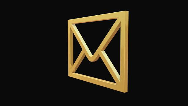 vídeos y material grabado en eventos de stock de envolvente dorado giratorio sobre fondo negro - buzón postal