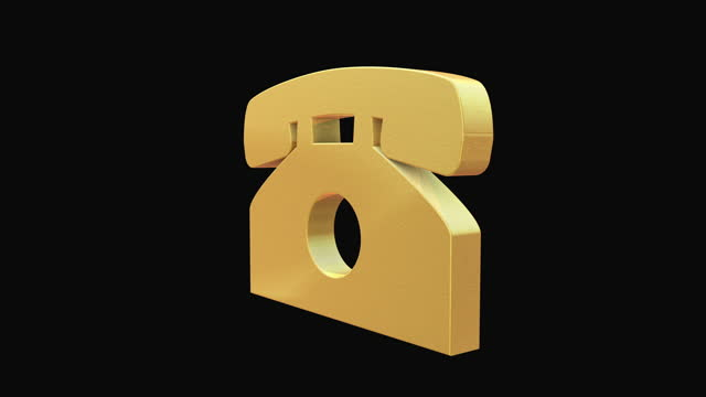vídeos de stock e filmes b-roll de rotating golden phone icon on black background - lista telefónica