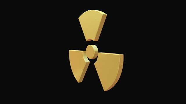 rotating golden radioactive symbol on black background - nuclear bomb stock videos & royalty-free footage