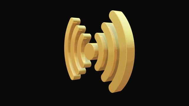 rotierendes golden wireless symbol auf schwarzem hintergrund - symbol stock-videos und b-roll-filmmaterial