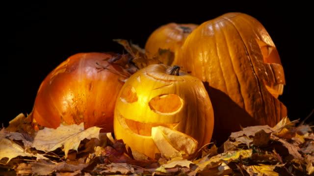 vídeos de stock, filmes e b-roll de loop hd: de abóbora de halloween cabeça rotativa - quatro objetos