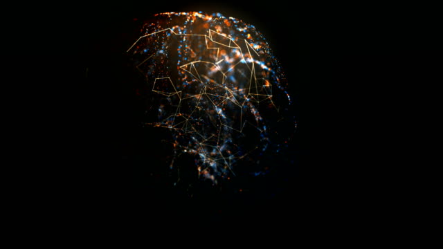 rotating mri scan of human brain with glowing blue and orange particles and connections loopable medicine footage - cerebellum stock videos & royalty-free footage