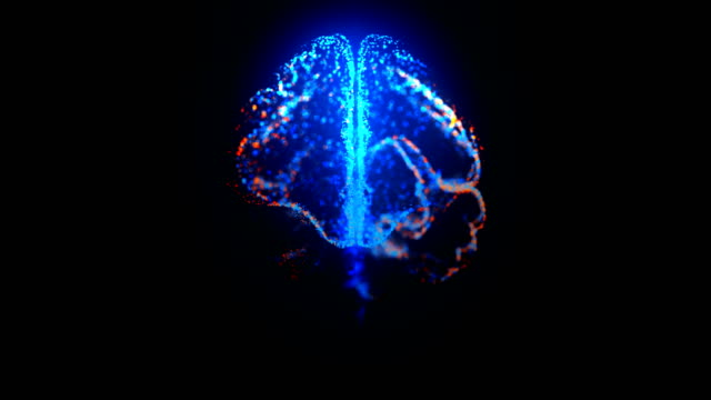 vídeos de stock e filmes b-roll de rotating mri scan of human brain with glowing particles loopable medicine footage in blue and orange - memorial