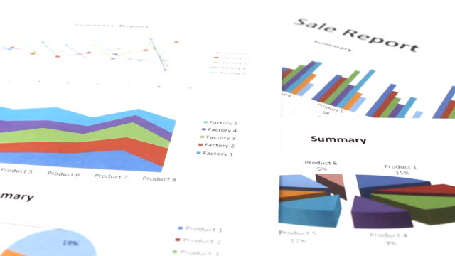 rotating of business graph chart on table - bank statement stock videos & royalty-free footage