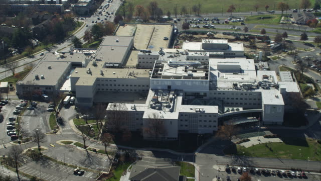 Rotating over the Department of Veterans Affairs Medical Center in Washington DC, close view. Shot in November 2011.