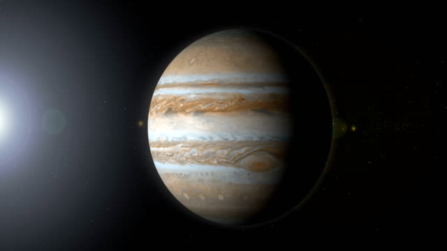 rotating planet jupiter in space with black hole - orbiting stock videos and b-roll footage