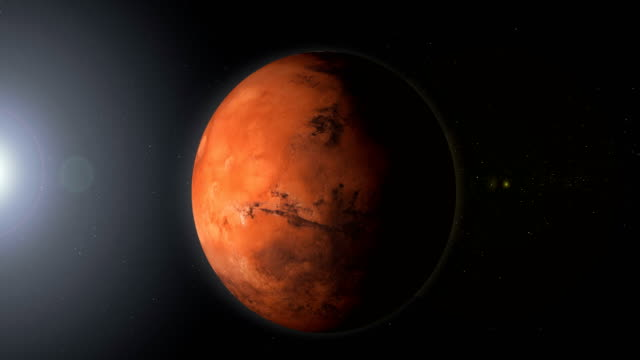 rotating planet mars in space with black hole - mars planet stock videos & royalty-free footage