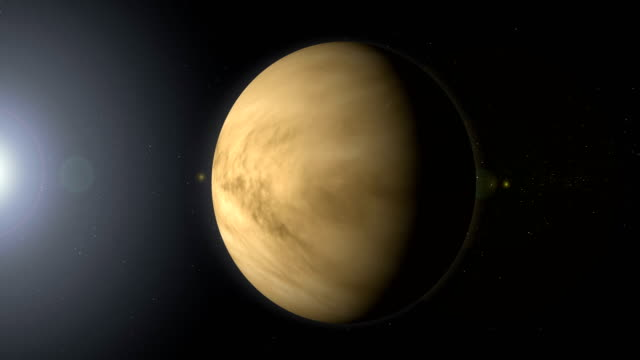 rotating planet venus in space with black hole - orbiting stock videos & royalty-free footage
