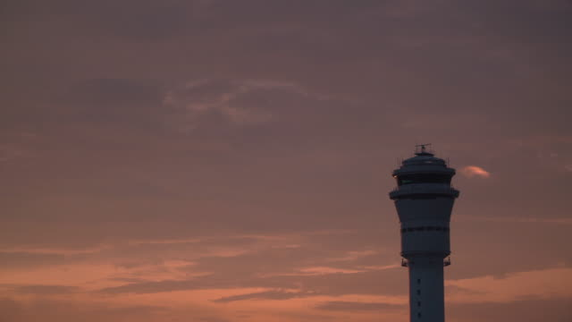 4k, rotating radar on aiport tower. - air traffic control tower stock videos and b-roll footage