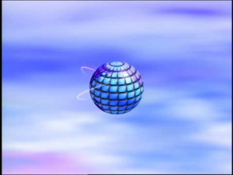 CGI rotating segmented blue globe with orbiting electrons moving toward camera to extreme close up / clouds in background