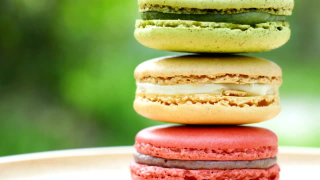 rotating shot macarons close up. - snack stock videos & royalty-free footage