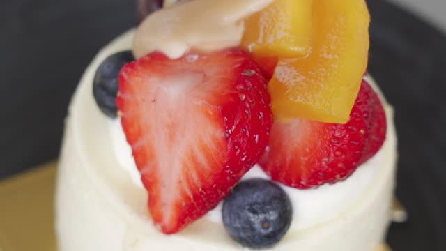 回転ショット バニラチーズケーキ - タルト点の映像素材/bロール
