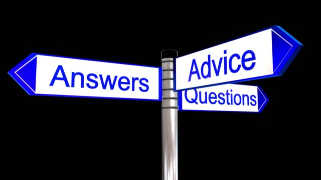 Rotating sign post with the the words questions answers and advice