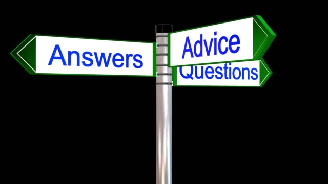 rotating sign post with the the words questions answers and advice - pole stock videos & royalty-free footage