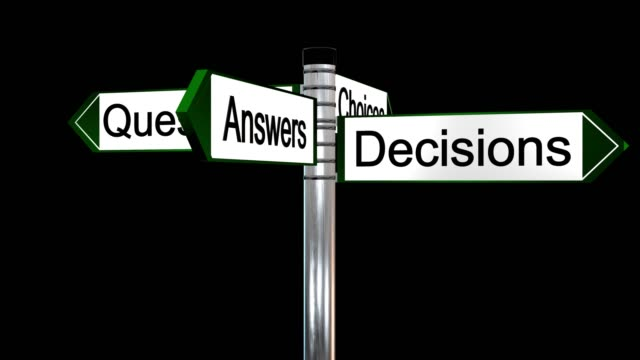 rotating sign post with the the words questions, answers, decisions and choices - johnfscott stock videos & royalty-free footage