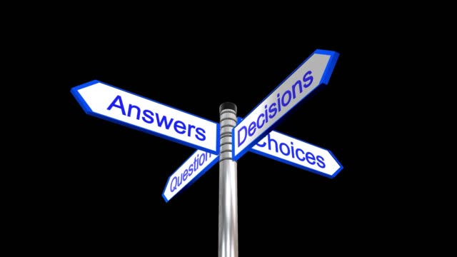 Rotating sign post with the the words questions, answers, decisions and choices