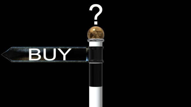 vídeos de stock e filmes b-roll de rotating signpost with the word buy and rent - arrendamento de casa