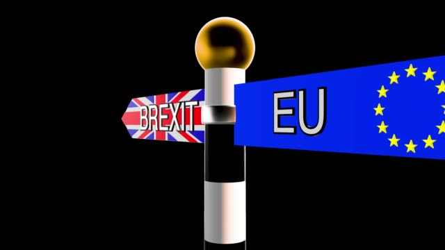 rotating signpost with the words brexit and eu on flag backgrounds - brexit stock videos & royalty-free footage