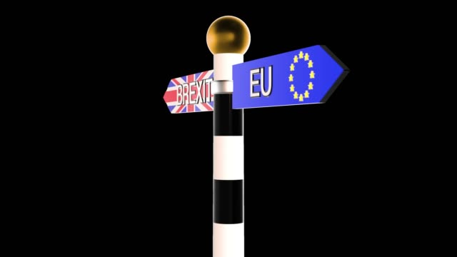 Rotating signpost with the words Brexit and EU on flag backgrounds