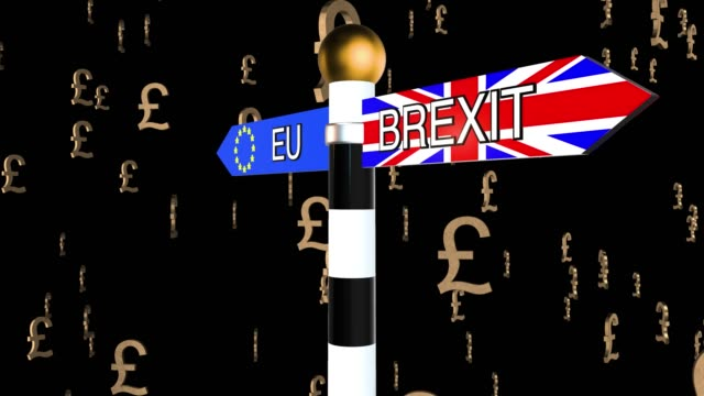 Rotating signpost with the words Brexit and EU on flag backgrounds with falling pound symbols