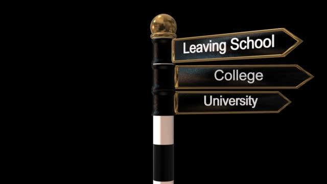 Rotating signpost with three signs leaving school, college and university