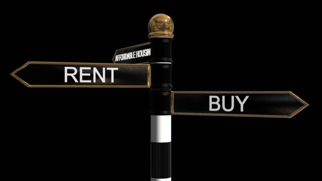 Rotating signpost with three signs rent, buy and affordable houseing