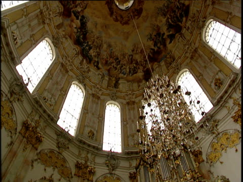 Rotating track of painted ceiling surrounded by arched windows and ornate chandelier tilt down altar with painting surrounded by ornate marble frame Mittenwald