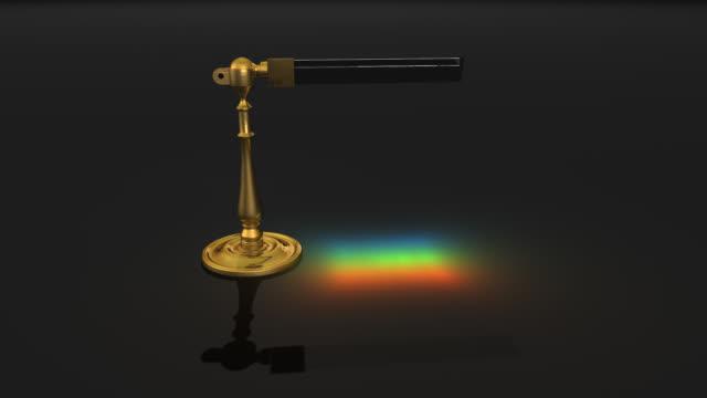 Rotating triangular prism refracting light.