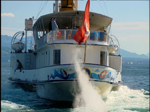 rotating turbines and thrusting components of pumping engine within pleasure boat sailing across lake geneva - turbine stock videos & royalty-free footage
