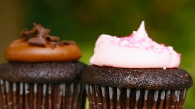 rotating two cupcake - cupcake stock videos and b-roll footage