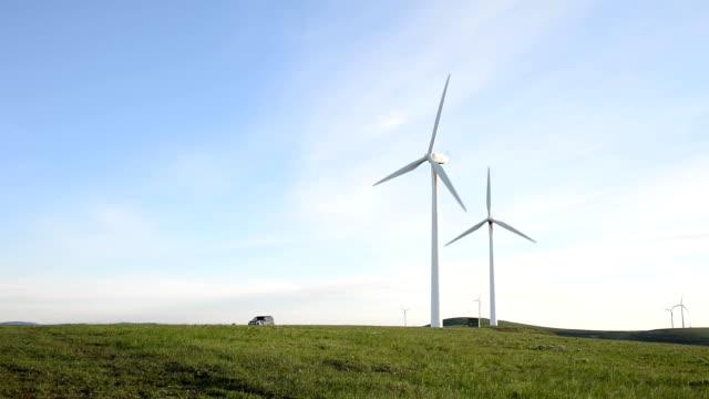 Rotierende wind turbine und Wies'unter blauem Himmel, Echtzeit.