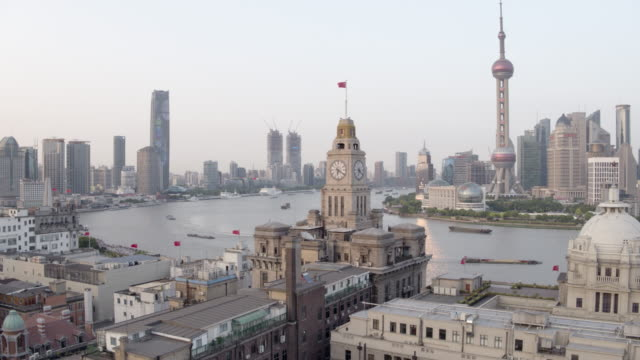 WS Rotation of Customs House and Shanghai Lujiazui Skyline with Huangpu River, Pearl Tower, Jin Mao, World Financial Center, The Bund