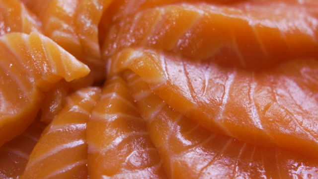 rotation of salmon sashimi close up shot - salmon stock videos & royalty-free footage