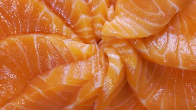 rotation of salmon sashimi close up shot - salmon seafood stock videos & royalty-free footage