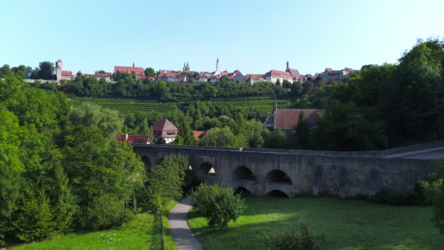 rothenburg ob der tauber and the medieval tauber bridge - romantic road germany stock videos and b-roll footage