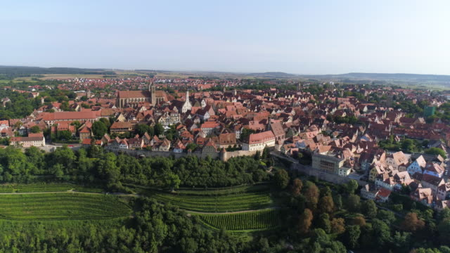 rothenburg ob der tauber from the south - romantic road germany stock videos and b-roll footage