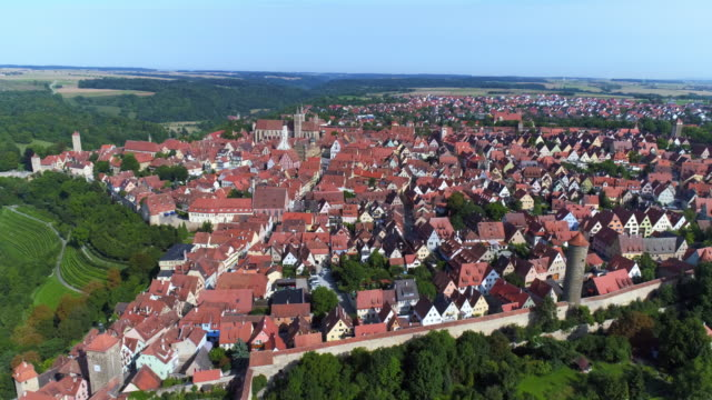 rothenburg ob der tauber from the southeast - romantic road germany stock videos and b-roll footage