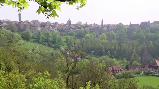 rothenburg ob der tauber, general view of the city from the castle garden - rothenburg stock videos and b-roll footage