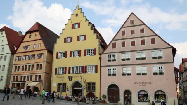 rothenburg ob der tauber, houses in the main square  - rothenburg stock videos and b-roll footage