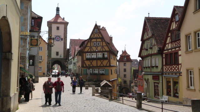 rothenburg ob der tauber, view of siebers tower and kobolzell gate - rothenburg stock videos and b-roll footage