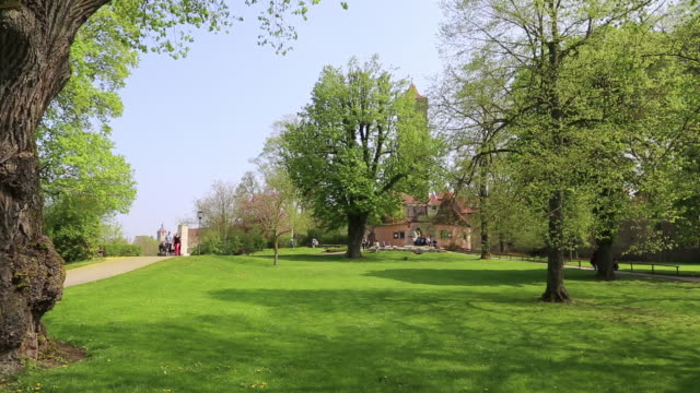 rothenburg ob der tauber, view of the castle garden - rothenburg stock videos and b-roll footage